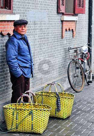 Chinese food seller stock photo, Chinese food seller in the street of Shanghai China by Kobby Dagan