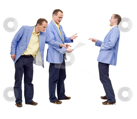 Failing to see the error stock photo, A man, clearly acting irritated, failing to spot the error in the document. The guy behind him is pointing it out, and a man in front is laughing at his blindness, conceptual image for self-critisism by Corepics VOF