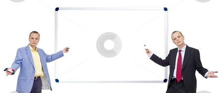 Whiteboard presentation stock photo, Two businessmen, pointing with a marker towards a whiteboard - waiting for your message, just paste it in - plenty of copyspace available, and clipping path of the whiteboard included at the largest file size! by Corepics VOF
