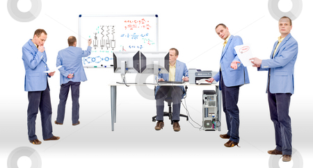 Proving a theory stock photo, Researchers proving a theory by heavy computing and logic thinking by Corepics VOF