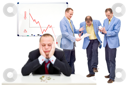 Unhappy employees stock photo, Three unhappy employees, angry at their indecicive boss, in front of a whiteboard showing a negative graph, representing the state of a business in financial crisis by Corepics VOF