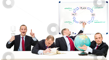 Self Employment stock photo, Conceptual image running a privately owned business, developing strategy in innovation. From left to right: Plan, Do, Check, Act. The strategic principle of the Deming Circle by Corepics VOF