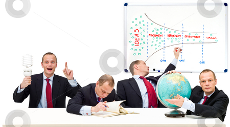 One man innovation process stock photo, Conceptual image displaying the innovation process from idea, to development, onto maturity and market launch. From left to right: Idea, refinement, development and market launch. The strategic principle of the innovation funnel by Corepics VOF