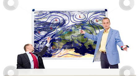 Weathermen behind an anchor desk stock photo, Two weathermen behind an anchor desk showing the weather forecast by Corepics VOF