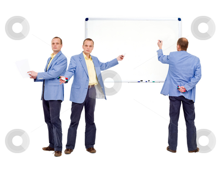 Explaining stock photo, Educational theme of three persons trying to explain something. The whiteboard is blank, and free for you to use for your own message by Corepics VOF
