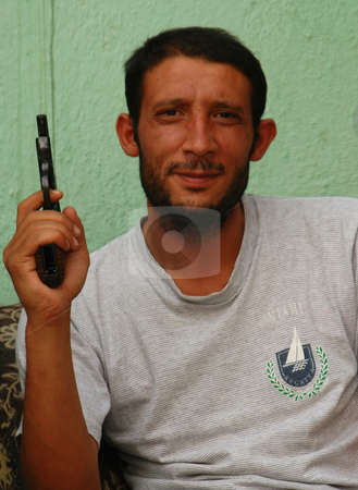 Turkish man stock photo, Turkish man with pistol in his hand by Kobby Dagan