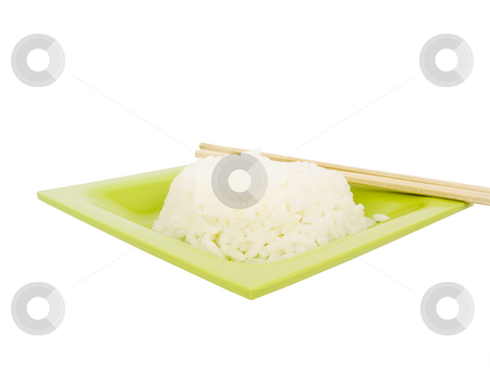 Rice on Plate stock photo, Rice with chopsticks on a green plate by John Teeter