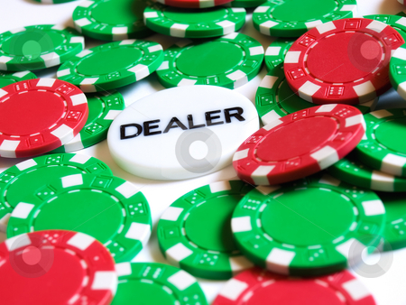 Chips and dealer stock photo, Conceptual image represent occupations or career in gambling or  of risk investment world. by Sinisa Botas