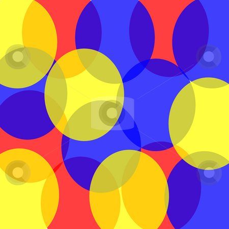 Retro Circles stock photo, Transparent retro circles in red, blue, and yellow create a fun blast from the past background. by Karen Carter