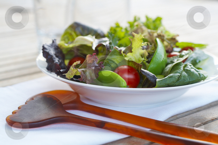 Healthy salad  stock photo, Healthy salad closeup on outdoor table setting by Gary Cookson
