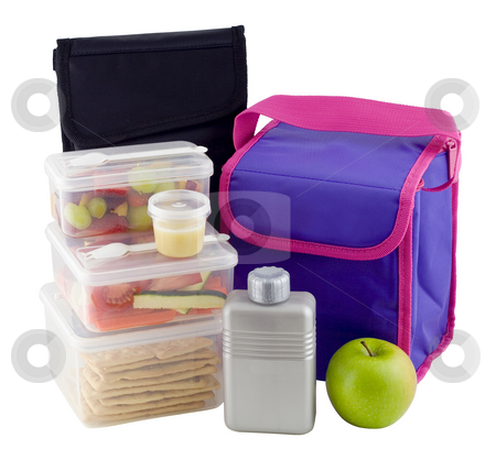 Healthy Lunchbox stock photo, Healthy lunch in clear plastic boxes containing fruit, salad and crackers by Gary Cookson