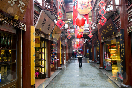 Chinese street stock photo, Chinese street in shanghai with new year decoration by Kobby Dagan