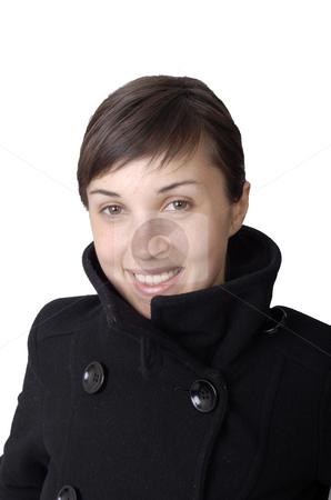 Happy stock photo, Girl smile white teeth over white background by Rui Vale de Sousa