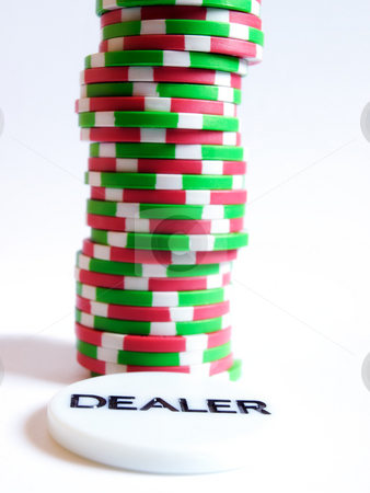 Chips and dealer stock photo, Conceptual image represent occupations or career in gambling or risk investment world. by Sinisa Botas