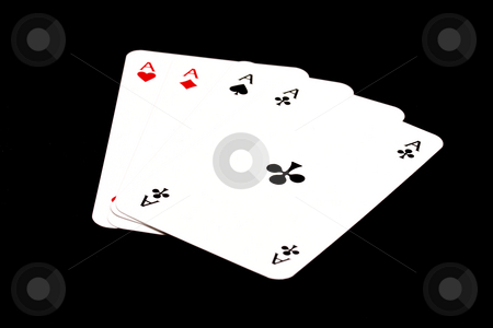Four aces stock photo, Four aces isolated on black by Ingvar Bjork