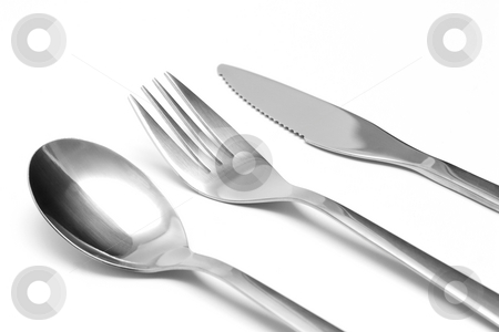 Fork, knife and spoon stock photo, Fork, knife and spoon by Andrey Butenko