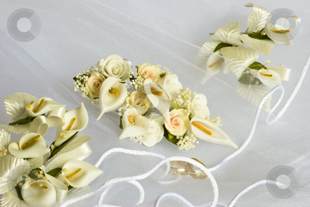 Wedding flowers over veil stock photo, Wedding flowers decorations over bridal veil by Desislava Dimitrova