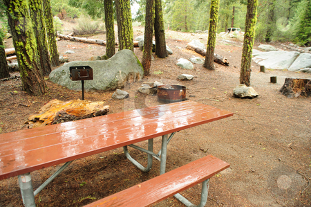 Empty Campground stock photo, A Sierra campground that is empty during the spring rainy season. Picnic table, barbque and steel fire pit enclosure are ready when the camper arrive. by Lynn Bendickson