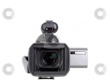 Video camera with lens forward and view screen to side stock photo, Video camera with lens hood and lens pointing forward by Jeff Cleveland