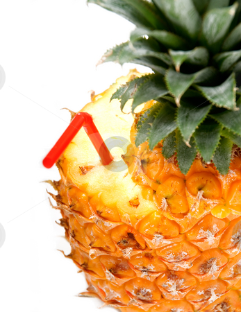 Pineapple drink stock photo, Ripe vivid pineapple with red straw over white background by Francesco Perre