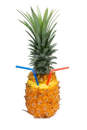 Pineapple drink stock photo, Ripe vivid pineapple with red and blue straw isolated over white background by Francesco Perre