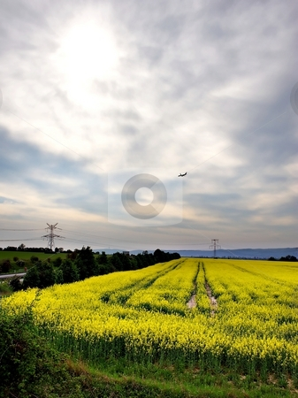 Descending airplane stock photo, Descending airplane on cloudy sky with yellow fields by Juraj Kovacik