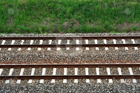 Railroad stock photo, Detail of railroad, rail with green grass by Juraj Kovacik