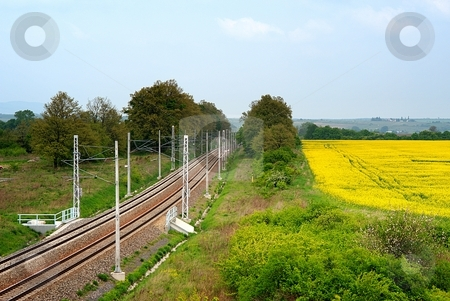 Railroad and yellow field stock photo, Railroad tracks and yellow field in spring day by Juraj Kovacik