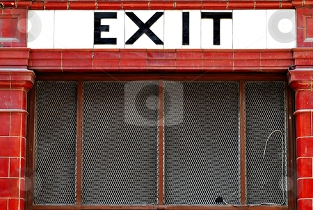 Exit stock photo, Exit sign from red and white tiles by Juraj Kovacik