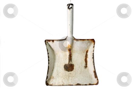 Enamel broom stock photo, Old used broom in metal dustpan on white background by Birgit Reitz-Hofmann