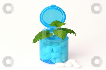 Chewing gum stock photo, Peppermint chewing gum in beverage on white background by Birgit Reitz-Hofmann