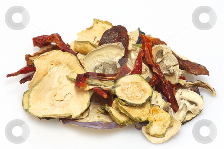 Dried vegeables stock photo, Close up from dried vegeatbles on bright background by Birgit Reitz-Hofmann