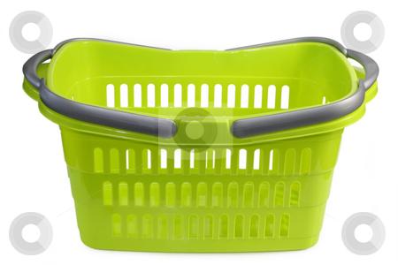 Shopping basket stock photo, Green plastic shopping basket isolated on whtie background by Birgit Reitz-Hofmann