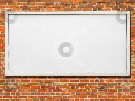 Large billboard with blank white paper ready for text. stock photo, Large billboard with blank white paper ready for text. by Stephen Rees