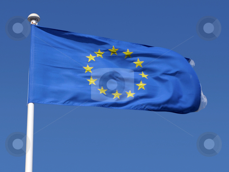 European Union flag blowing in the wind. stock photo, European Union flag blowing in the wind. by Stephen Rees