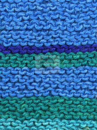 Knitted blue and green wool stripes abstract texture background. stock photo, Knitted blue and green wool stripes abstract texture background. by Stephen Rees