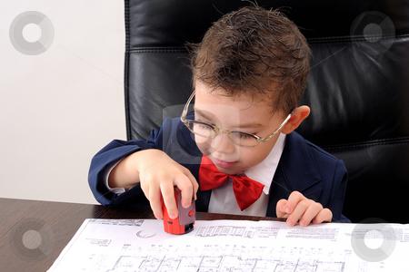 Small boy stock photo, Ok, positive attitude for a small businessman by Dragos Iliescu
