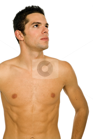 Looking stock photo, Young casual naked man isolated on white by Rui Vale de Sousa