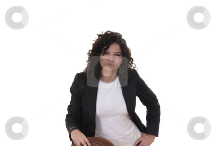 Portrait stock photo, Portrait of a young woman in white background by Rui Vale de Sousa
