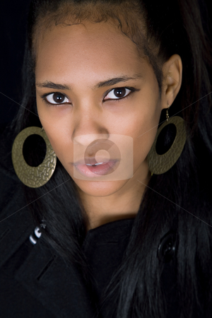 Black stock photo, Young beautiful woman close up portrait, on black background by Rui Vale de Sousa