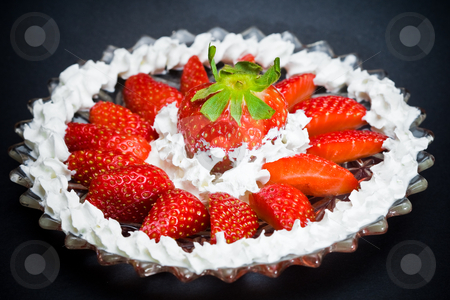 Strawberry plate stock photo, A plate full of strawberries and cream by Damir Franusic
