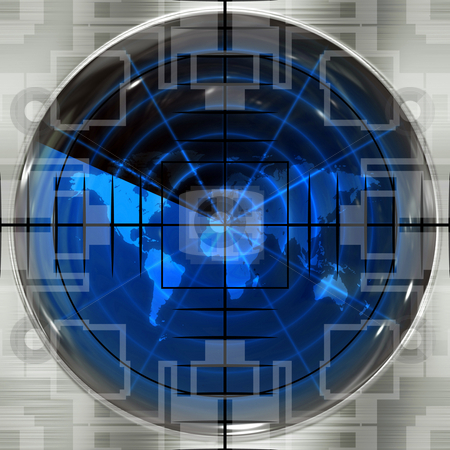 World Sniper Scope stock photo, The world map in a radar screen with sniper crosshairs.  Blips can be added easily anywhere they are needed. by Todd Arena