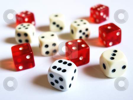 Dice stock photo, Conceptual image with several dice on a clear background. by Sinisa Botas