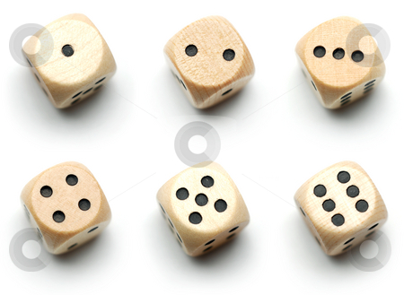 Wooden dice, all numbers stock photo, Dice showing 1, 2, 3, 4, 5, and 6 dots isolated on white. by Gjermund Alsos