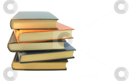 Books Stacked on White stock photo,  by Kirsty Pargeter