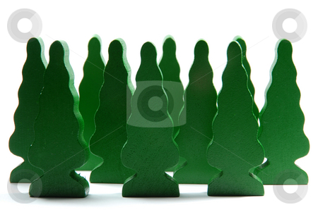 Forest stock photo, Small forest made by wooden building blocks shaped like trees. by Gjermund Alsos