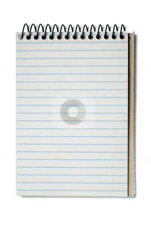 Spiral bound note pad stock photo, Notebook with striped paper, binder and empty page for your design or text isolated on white background. by Gjermund Alsos