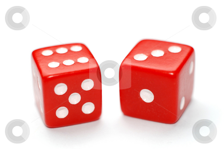 Dice stock photo, Two red dice isolated on white background by Gjermund Alsos