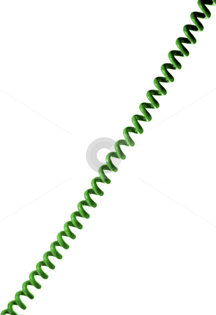 Phone wire stock photo, Old style green phone wire isolated on white background by Gjermund Alsos