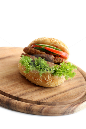 Sandwich burger stock photo, Sandwichburger on a white background by Jan Martin Will